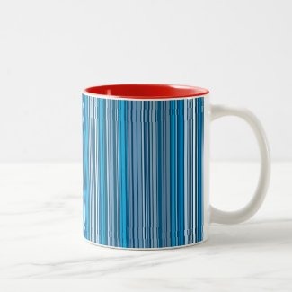 Many multi colored stripes in the blue... Two-Tone Coffee Mug