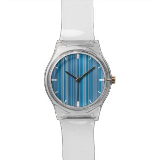 Many multi colored stripes in the blue... wristwatch