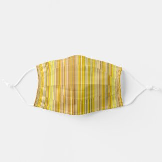 Many multi colored stripes in yellow cloth face mask