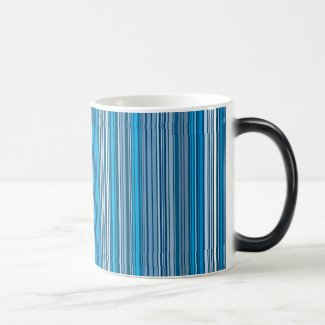 Many multi colored stripes into the blue… Magic Mug