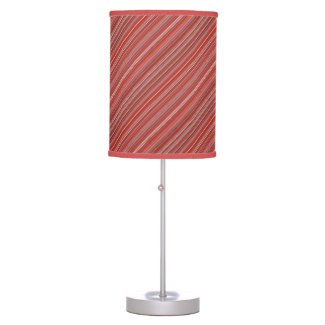 Many multi colored strips in red diagonal table lamp