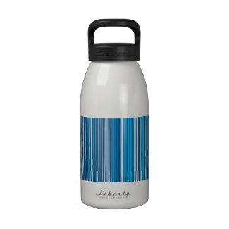 Many multicolored strips in the blue sample drinking bottle