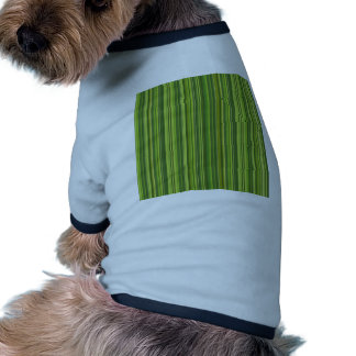 Many multicolored strips in the green sample doggie t-shirt