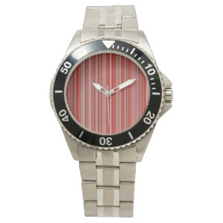 Many multicolored strips in the red sample wrist watch