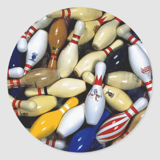 Many Old Bowling PIns Classic Round Sticker