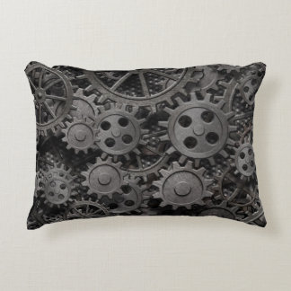 Many old rusty metal gears or machine parts accent pillow