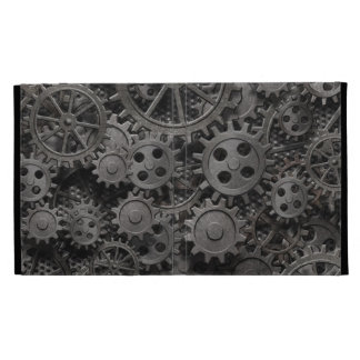 Many old rusty metal gears or machine parts iPad folio cover