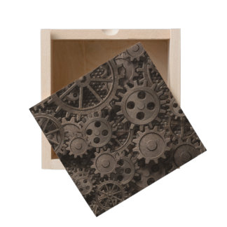 Many old rusty metal gears or machine parts wooden keepsake box