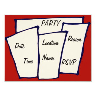Many Pages, PARTY, 4.25x5.5 Paper Invitation Card