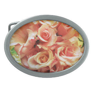 Many pink roses oval belt buckle