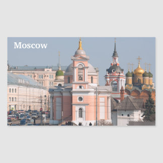 Many Russian orthodox churches in center of Moscow Rectangular Sticker