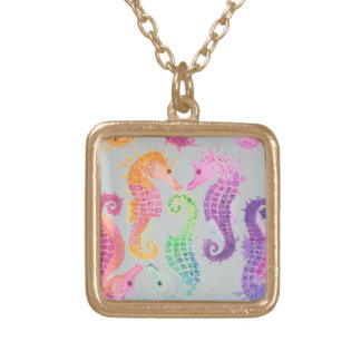 Many seahorses square pendant necklace