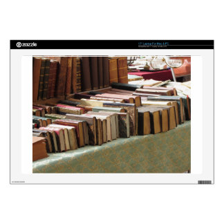 """Many second hand books at antique market decals for 17"""" laptops"""
