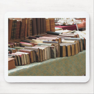 Many second hand books at antique market mouse pad