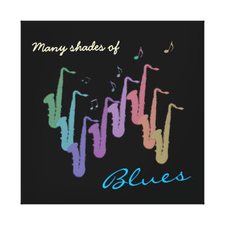 Many Shades of Blues ~ Saxophone Canvas Gallery Wrapped Canvas