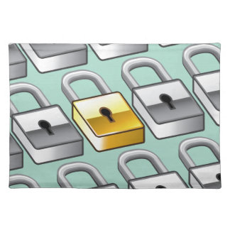 Many silver locks with one Gold Lock Vector Cloth Placemat