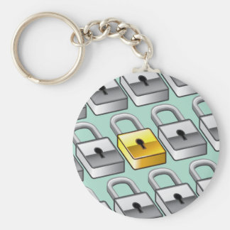 Many silver locks with one Gold Lock Vector Keychain