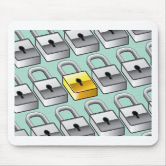 Many silver locks with one Gold Lock Vector Mouse Pad