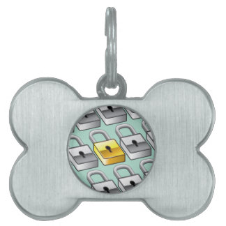Many silver locks with one Gold Lock Vector Pet ID Tag