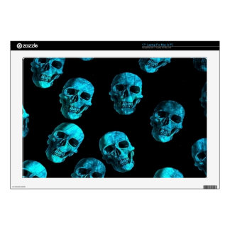 many skulls, blue decal for laptop