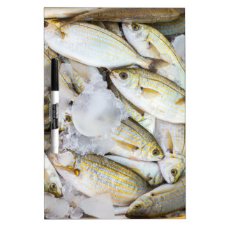 Many small caught dead fish with ice on market Dry-Erase board