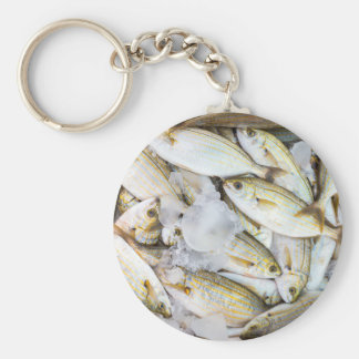 Many small caught dead fish with ice on market keychain