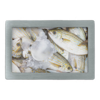Many small caught dead fish with ice on market rectangular belt buckle