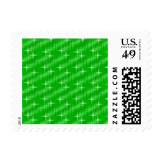 many stars, neon green stamps
