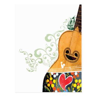 Many Symbols of Portugal - Portuguese Guitar Postcard