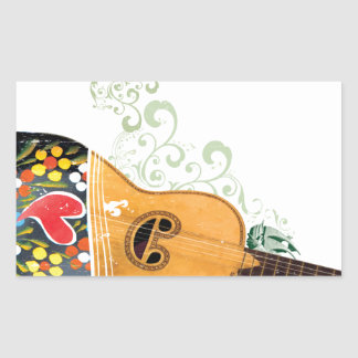 Many Symbols of Portugal - Portuguese Guitar Rectangular Sticker