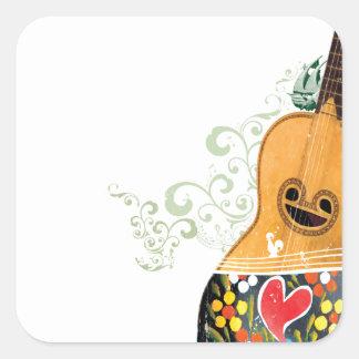 Many Symbols of Portugal - Portuguese Guitar Square Sticker