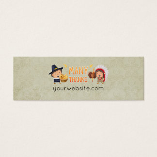 Many Thanks Pilgrim And Native Grateful Together Mini Business Card