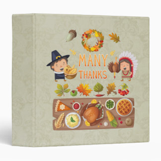 Many Thanks Pilgrim And Native Thanksgiving Feast 3 Ring Binder