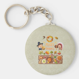 Many Thanks Pilgrim And Native Thanksgiving Feast Keychain