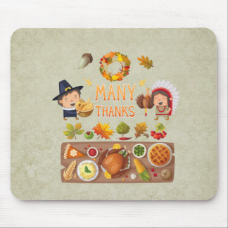 Many Thanks Pilgrim And Native Thanksgiving Feast Mouse Pad
