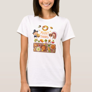 Many Thanks Pilgrim And Native Thanksgiving Feast T-Shirt