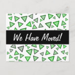 [ Thumbnail: Many Triangles Colored Various Shades of Green Postcard ]
