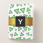 [ Thumbnail: Many Triangles Colored Various Shades of Green Pocket Folder ]