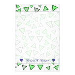 [ Thumbnail: Many Triangles Colored Various Shades of Green Stationery ]