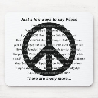 Many ways to say peace with symbol mouse pad