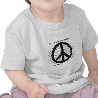 Many ways to say peace with symbol tshirts