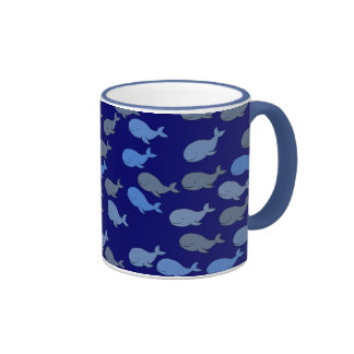 many whales ~ blue pattern ringer coffee mug