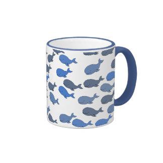 many whales ~ cute pattern ringer coffee mug