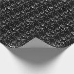 [ Thumbnail: Many White Bicycle Icons On a Black Background Wrapping Paper ]