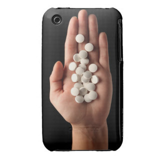 Many white pills in the palm of a person iPhone 3 case
