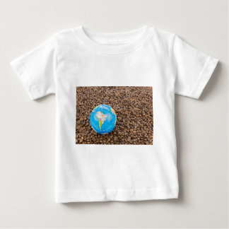 Many whole coffee beans with South America globe Baby T-Shirt