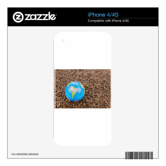 Many whole coffee beans with South America globe Decals For The iPhone 4S