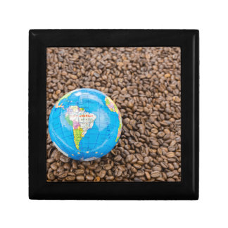 Many whole coffee beans with South America globe Jewelry Box