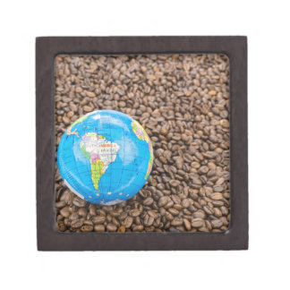 Many whole coffee beans with South America globe Keepsake Box