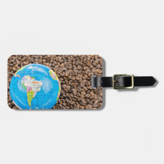 Many whole coffee beans with South America globe Luggage Tag
